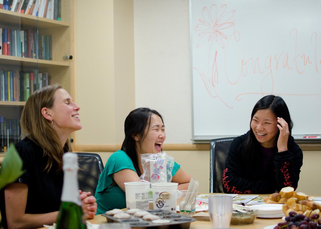 Köver (left) with fellow Berkeley Neuroscience PhD alums Heesoo Kim and Asako Miyakawa.
