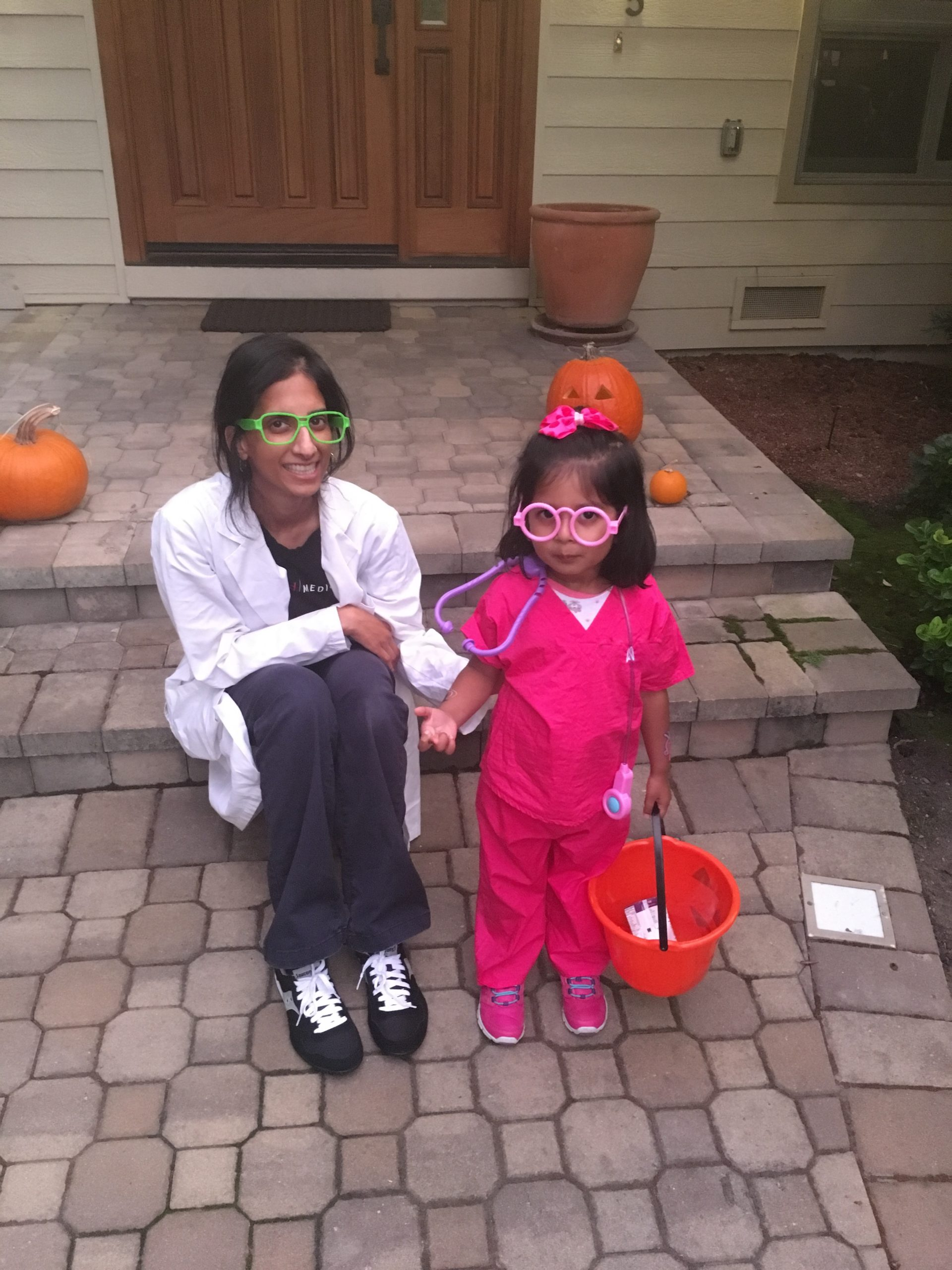 Chetty and her daughter on Halloween.