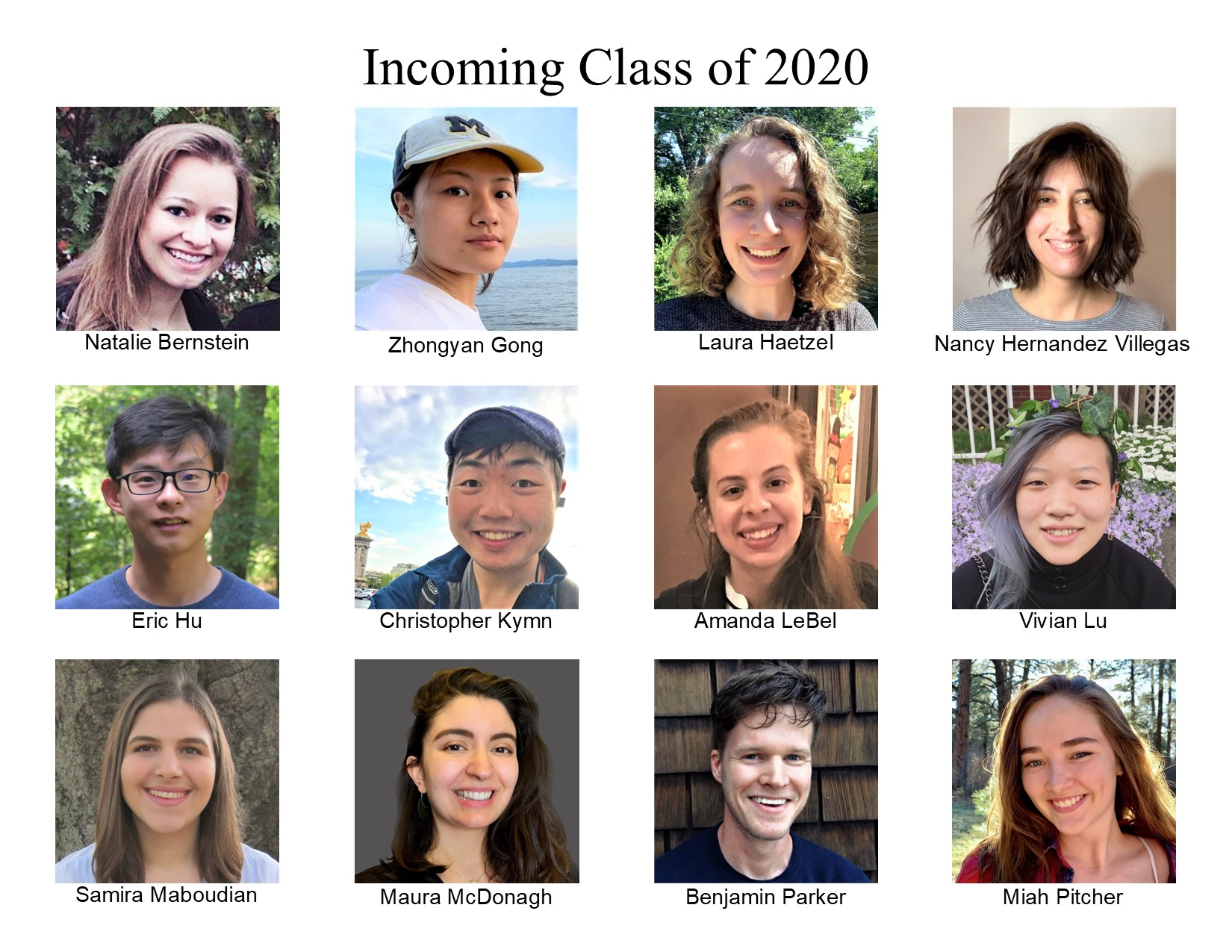Headshots of the incoming class of 2020.